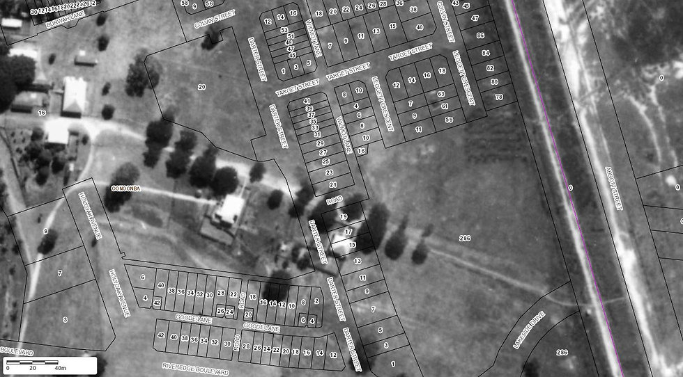 TOTSV Area 1938 Aerial Photo with overla
