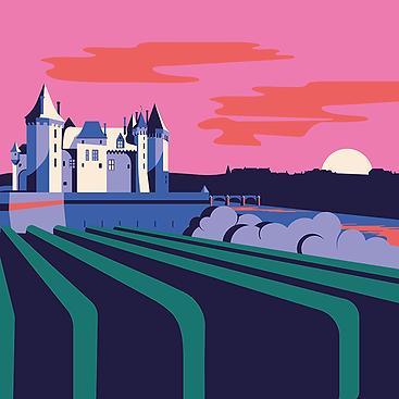 Saumur, illustration, couleurs, transavia, artiste, région, angevin, saumurois, anjou, chateau de saumur, art, oeuvre, graphiste, illustrateur, 49, maine et Loire, pays de la loire