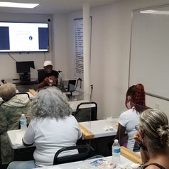 Recovery Coach Robert Wiley leads a class.