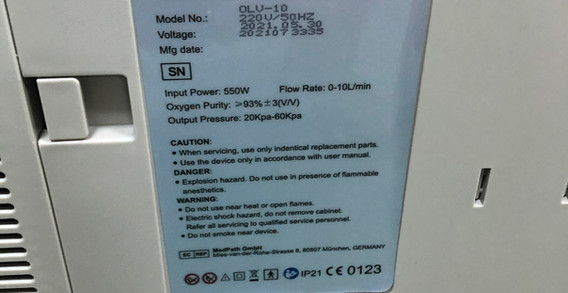 Voltmi Oxygen Concentrator Product Label