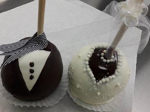 Bride & Groom Caramel Apple Pair