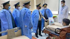 Müdafiə Nazirliyinin rəhbərliyi Novruz bayramı münasibətilə hərbi hospitalda olub - FOTO