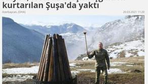 Türkiyə mediası: Prezident İlham Əliyev Şuşada Novruz tonqalını alovlandırdı - FOTO