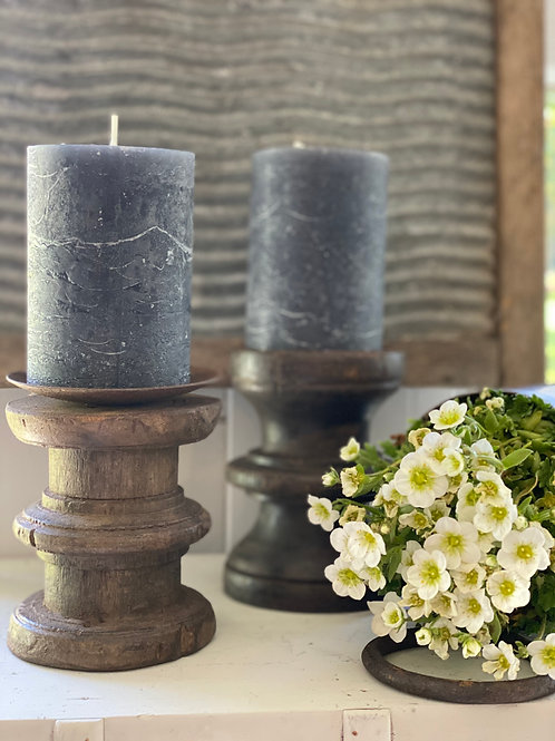 Rustic Indian wood candle holders