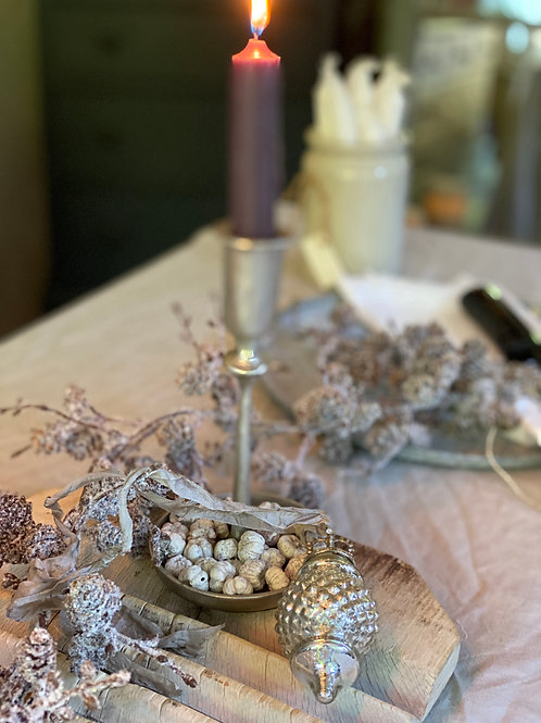 Hammered Silver candle stick