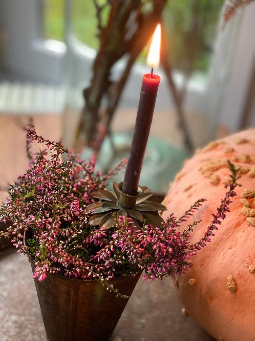 Rustic metal flower taper candle holders