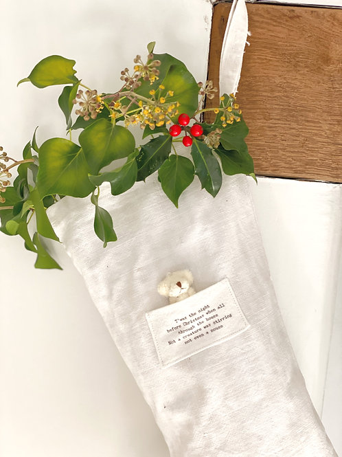 'Twas the night before Christmas' Vintage Linen Stocking
