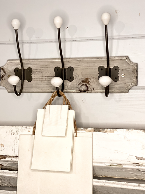 Grey Wash 3 Wooden Hook