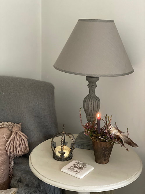 French Style wooden lamp base with linen shade