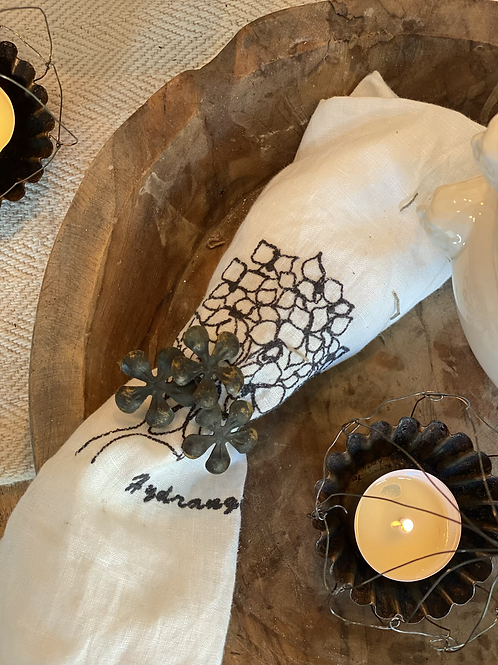 Rustic Napkin ring with flowers