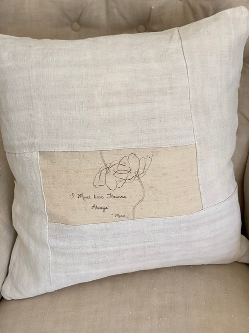 'I must have flowers always' French embroidered linen cushion