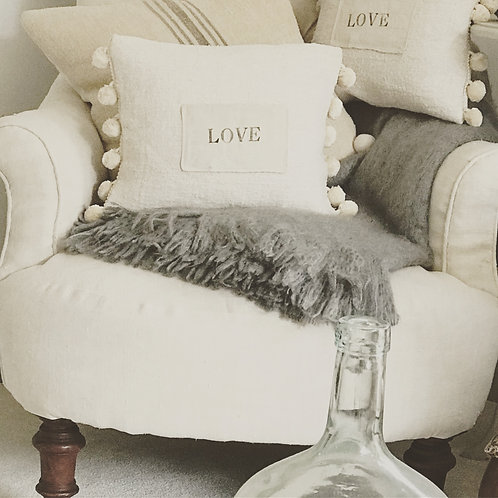 Love Letter Pom Pom Trim Vintage Linen Cushion with feather