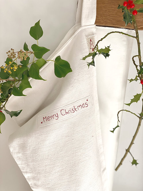 Hand Embroidered Vintage Linen Christmas Stocking
