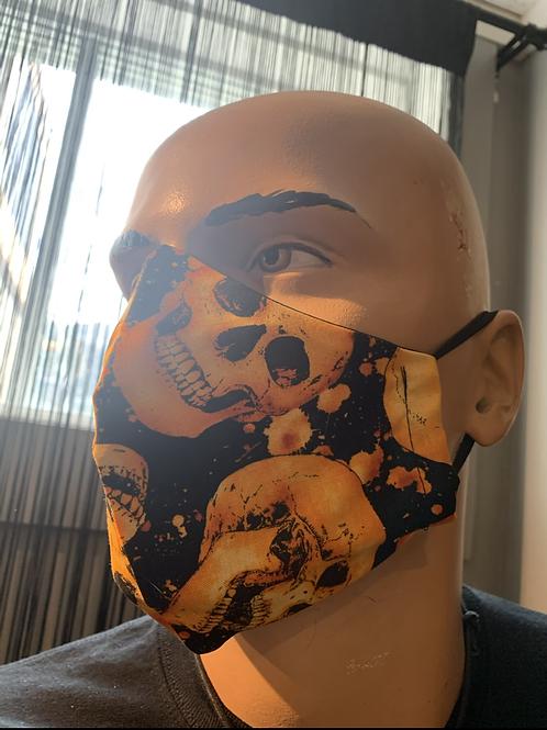 Masque moulé crâne orange