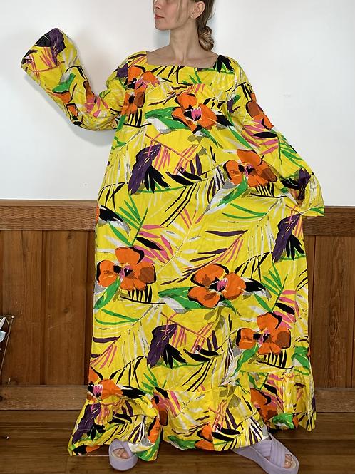 YELLOW FLORAL COTTON DRESS