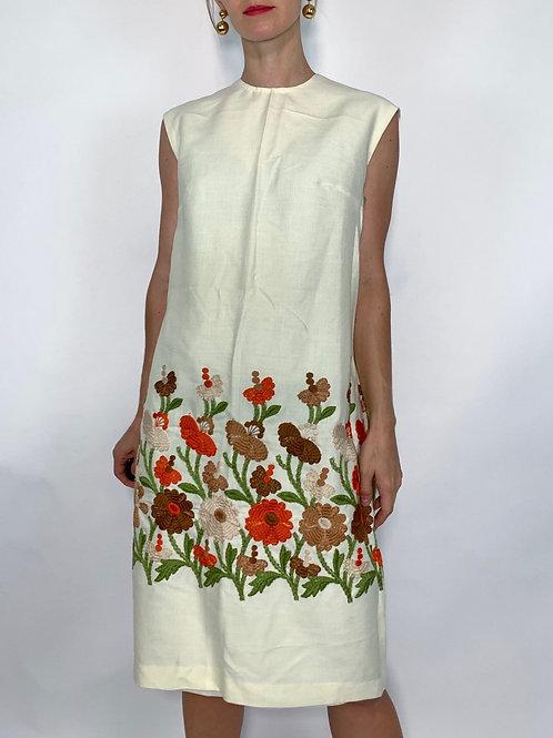 1960S CREAM LINEN SHIFT DRESS