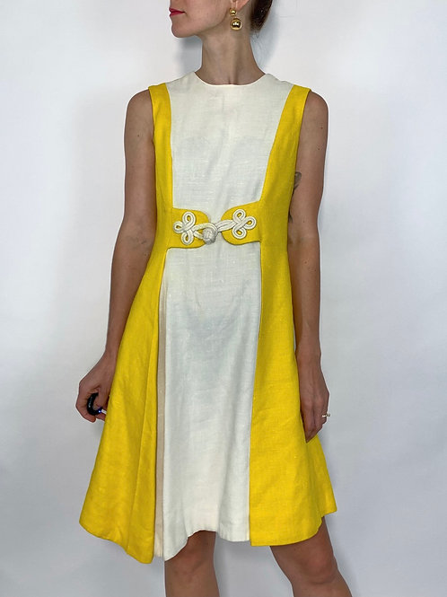 1960s YELLOW + WHITE MOD DRESS