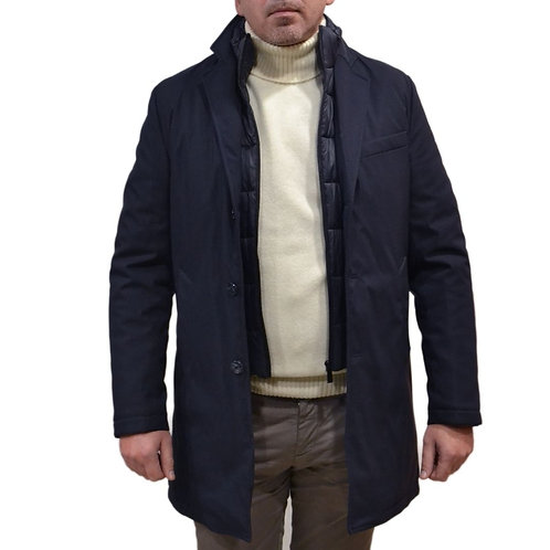 Blue men's jacket with double closure