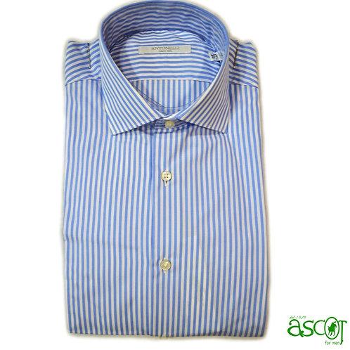 Camicia di cotone a riga azzurra