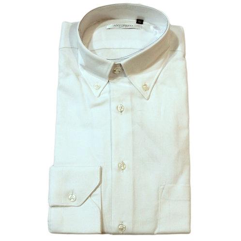 Camicia  bianca di  cotone button  down -  lavorazione  nido  d'Ape