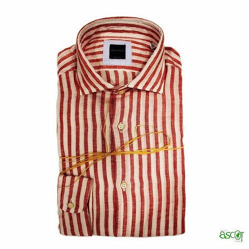 Camicia di lino  a riga rossa