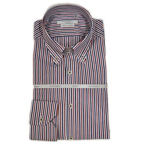 Camicia di cotone button down a riga rossa e blu