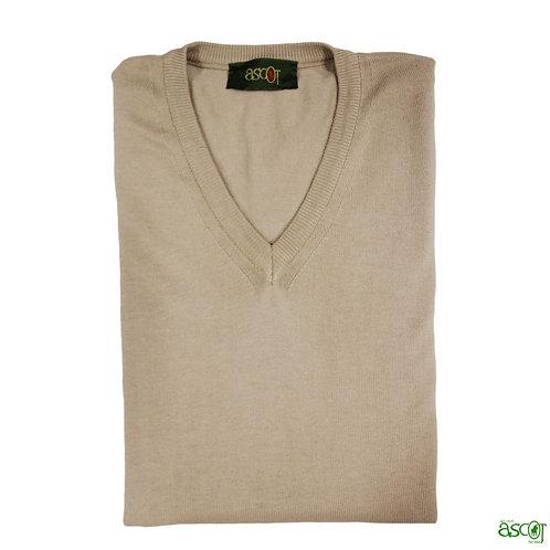 Maglione di cotone da uomo con scollo a V