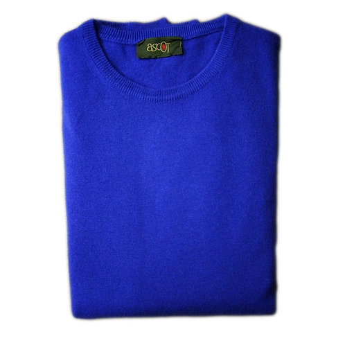 Sweater with round neck of the cashmere wool. Colors: cobalt and light blue