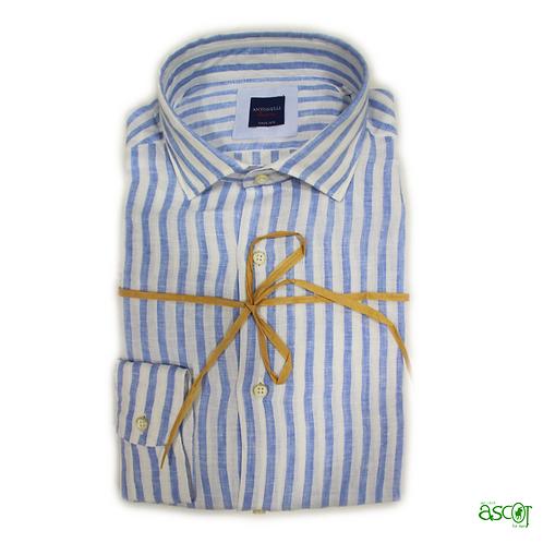 Camicia di lino a riga azzurra