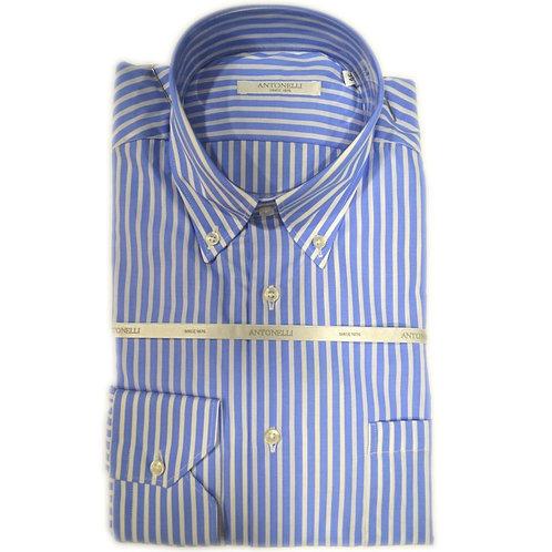 Camicia di puro cotone celeste a riga button down