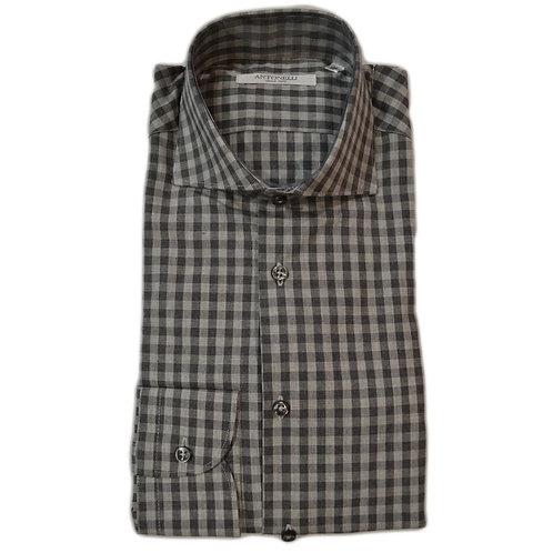 Camicia  da  uomo di  cotone  caldo grigia a quadri