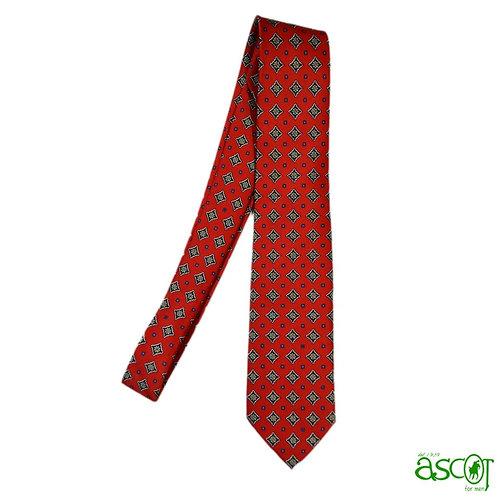 Cravatta rossa a rombi blu
