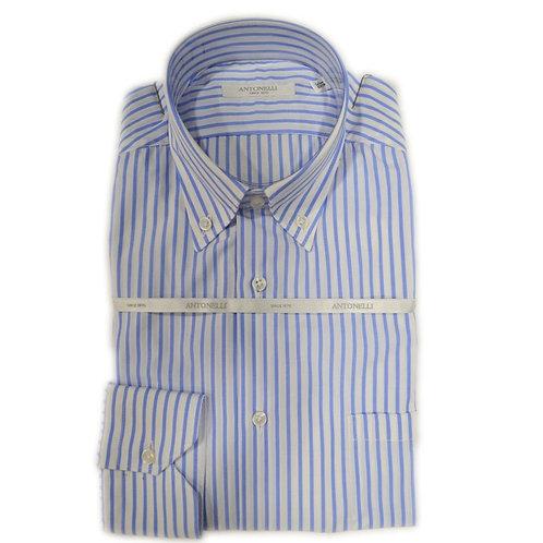 Camicia  button down  di  cotone  a riga celeste