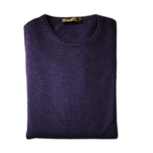Blue cashmere wool sweater - round neck