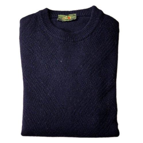 Maglione uomo in lana - blu a rombi giro collo