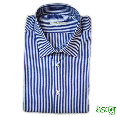 Camicia di cotone a riga blue
