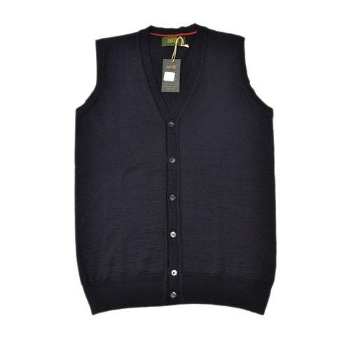 Men's sleeveless cardigan in merino wool