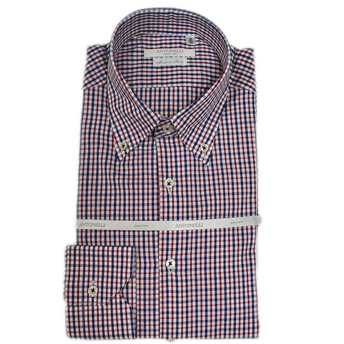 Camicia a  quadri  rossi  e blu  button down