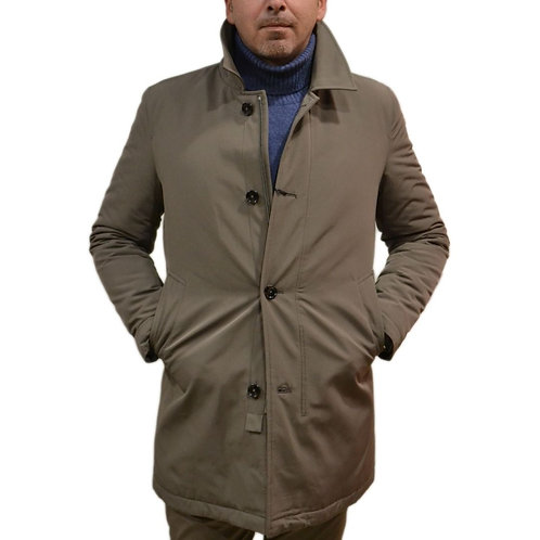 Beige man jacket with button and zip closure