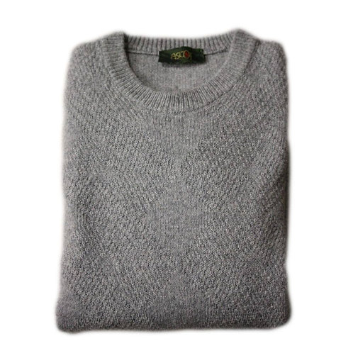 Men's wool sweater - gray with round neck