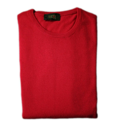 Sweater with round neck of the cashmere wool  - coral