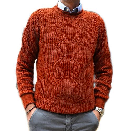 Maglione in  doppia lana giro collo