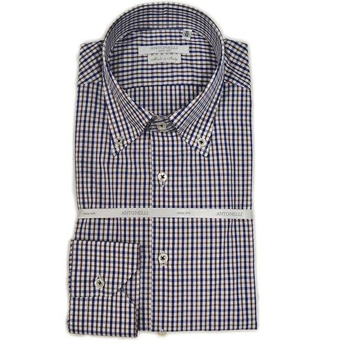 Camicia di  cotone a quadri  moro button down