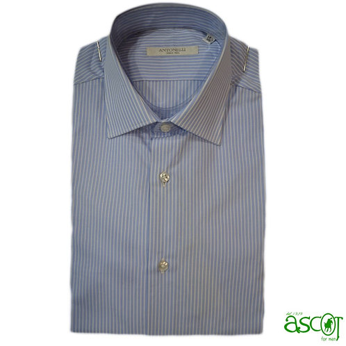 Light blue shirt with white stripe