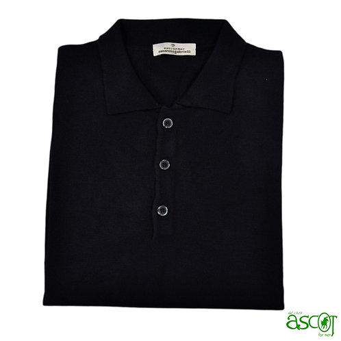 Polo di lana merinos- nero