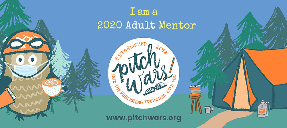 Pitch Wars Banner with an image of Poe the Owl and the Pitch Wars badge. Caption reads: I am a 2020 Adult Mentor