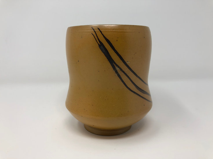 Salt Fired Yellow Black Lines Teabowl 1