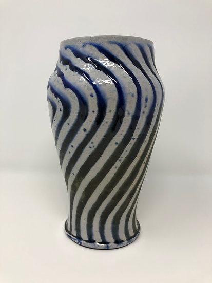Dark Blue Oval Wavy Vase 1 - small