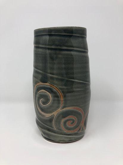 Dark Blue Spiral Twist Vase