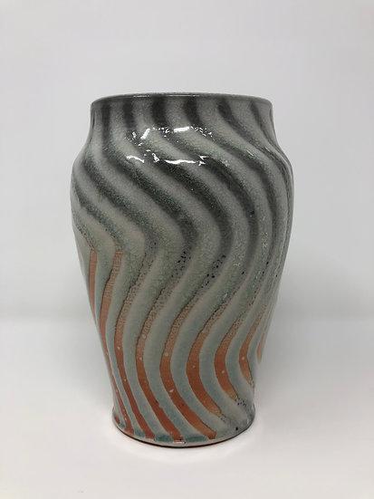 Ice Blue Wavy Vase 1 - small